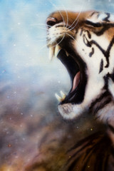 airbrush painting tiger head