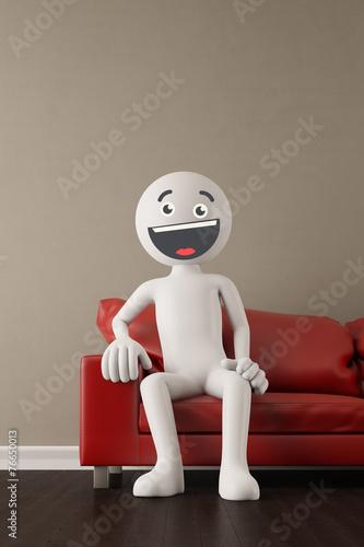 canvas print picture Lachender 3D Mensch auf Sofa