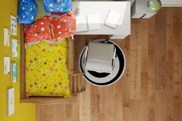 Kinderzimmer mit Bett von oben