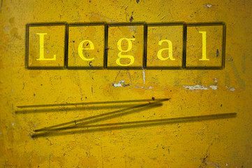 legal written on a wall background