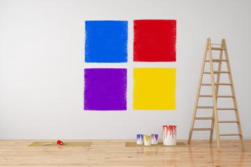 Auswahl von Farbe an Wand