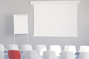 Leere Leinwand und Whiteboard bei Konferenz