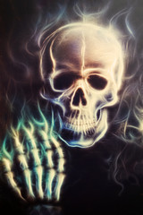 Skulll with hand painting fractal effect