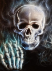 Skull  with hand  painting fractal effect