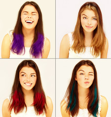 Street style-colored hair.Girl with alternative look.