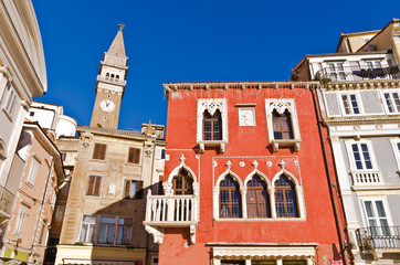 Bell tower and buildings at Tartini square in Piran, Istria