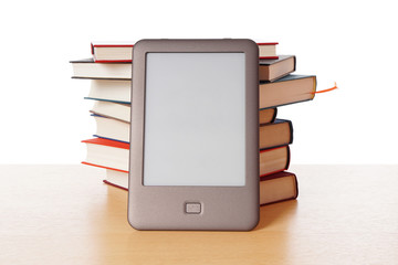ebook reader vs pile of books