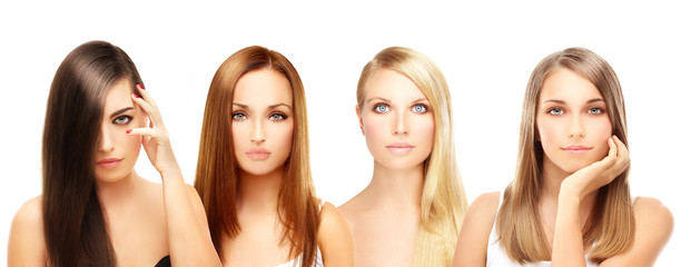 Four different women. Blonde and brunette