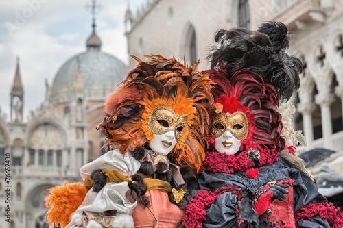 Leinwanddruck Bild Carneval mask in Venice - Venetian Costume