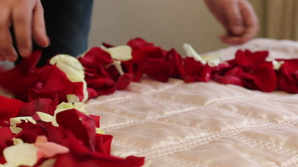 Heart of rose petals on the bed