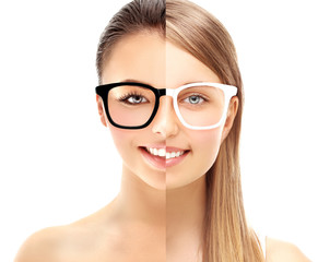 Two girls wearing colored  glasses