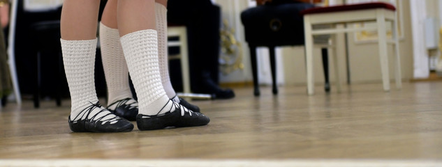 Dancers feet shod in shoes for Celtic dance