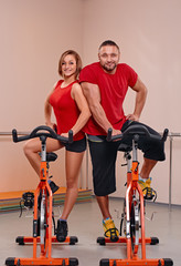 Indoor bycicle cycling portrait