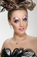 fashion hairstyle and make-up