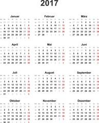 Kalender 2017 universal - ohne Feiertage