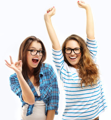 Happy friends.Girl showing  OK symbol with hands.