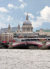 City of London view from the London bridge. St. Paul cathedral