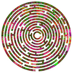 Maze with multicolored mosaic pattern on white