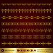Borders seamless decorative elements in gold set 9