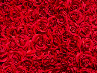 the artificial red rose texture background