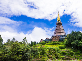 Pagoda and royal garden on the top of Doi Inthanon, Thailand