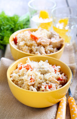 Creamy chicken and carrot rice