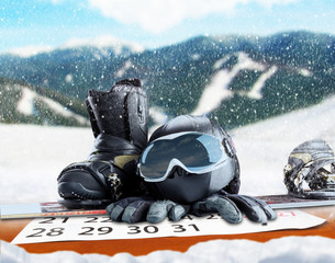 Winter sport equipment on winter background