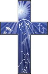 Cross Depicting Crucifixion Resurrection