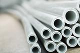 Plastic industrial tubes closeup