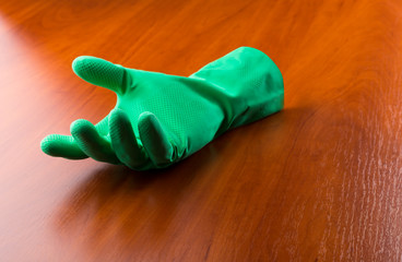 Green cleaning glove