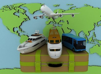 Concept of transport for trips on a map backgraund