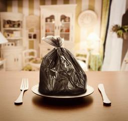 Garbage package instead of food