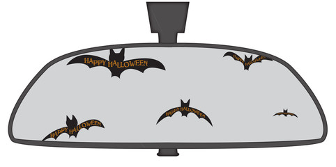 Halloween Bats In Rear View Mirror