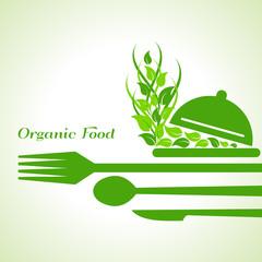 organic food label design concept with restaurant forks
