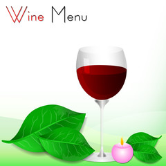 Abstract white background with green leaves and red wine glass