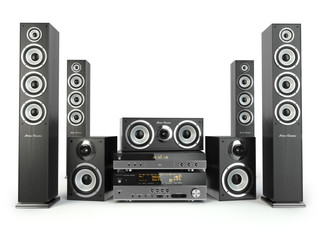 Home cinema speaker system. Loudspeakers, player and receiver.