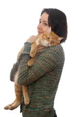 Woman and orange cat
