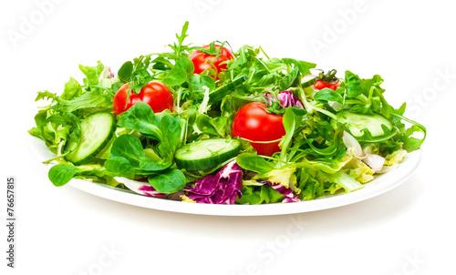 Fotobehang Voorgerecht Frischer Salat, Salatteller, isoliert