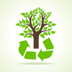 Tree inside the recycle icon- vector illustration