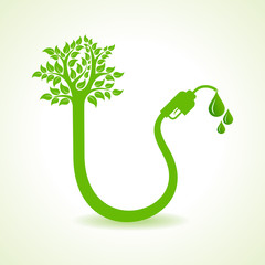 Bio fuel concept with nozzle and tree stock vector