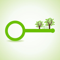 Tree and wind-mill on the key- vector illustration