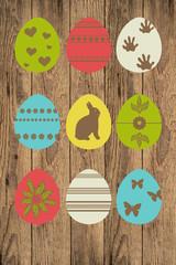 Holzschild mit Ostereiern
