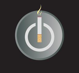 Electronic Cigarette Power Button Vector Illustration.