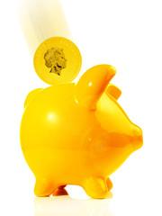 Sparschwein mit Goldmünze