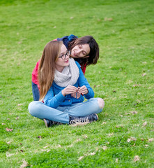 Spring. Mother and daughter outdoors