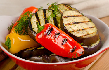 Grilled eggplant and paprika  - healthy food.