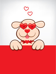 greeting card with funny dog with heart sunglasses
