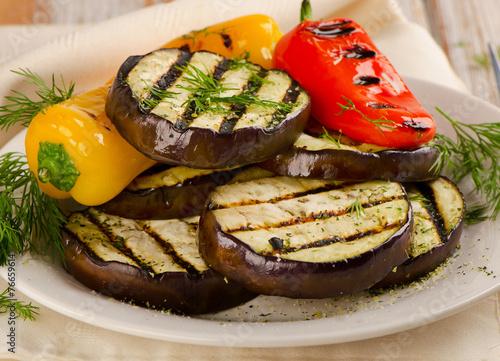 Fototapeta Grilled vegetables - healthy food.