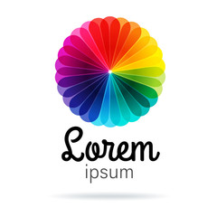 Spectrum flower Logo template, beautiful design element