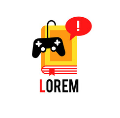 Logo with book and joystick